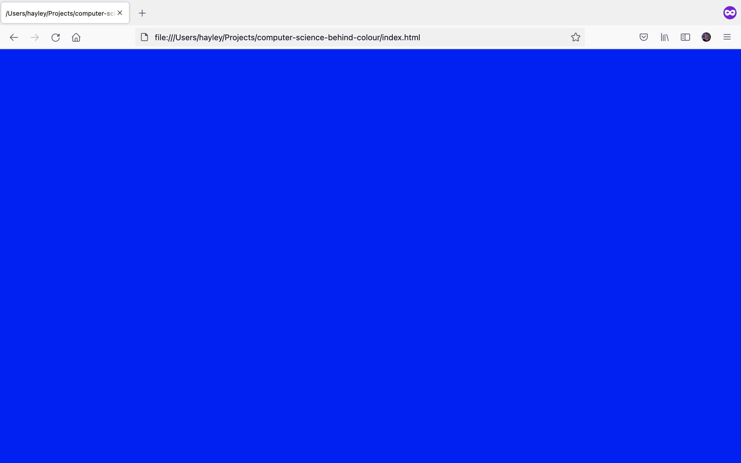 Empty webpage with blue background.