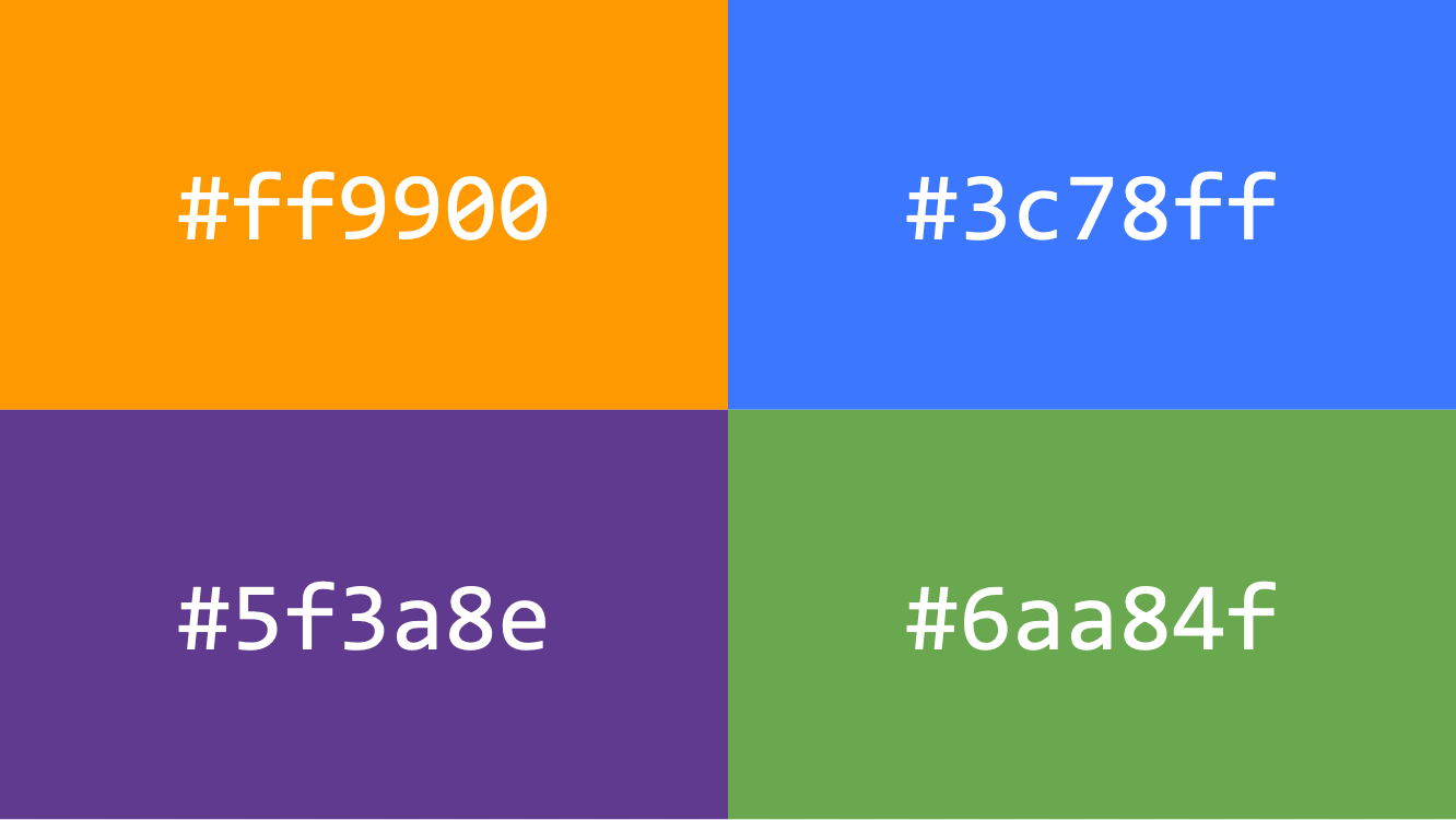 Four different coloured squares and their corresponding hex codes.