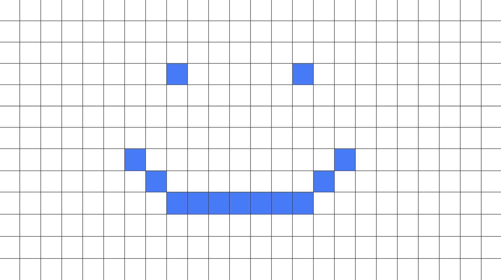 Grid with blue cells to create a smiley face.